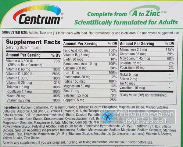 Thanh Phan Vitamins Tổng Hợp Centrum Adults 425v