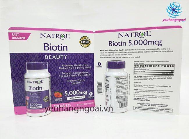 Hình Thật Mặt Trước Sau Thuốc Mọc Tóc Biotin 5000 Mcg