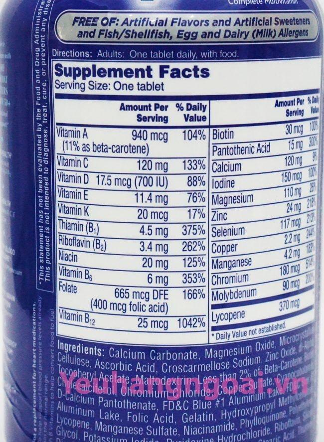 Hình Thật Thành Phần Vitamine One A Day 50+ Multi Vitamine Của Mỹ