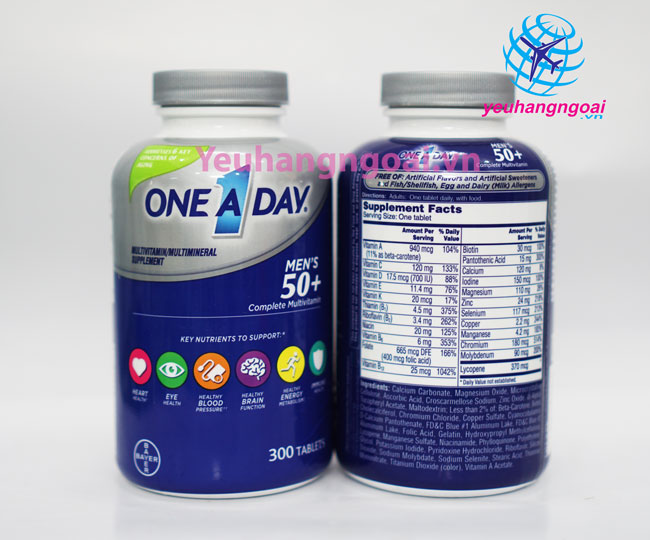 Hình Thật Mặt Trước Và Sau Vitamine One A Day 50+ Multi Vitamine Của Mỹ
