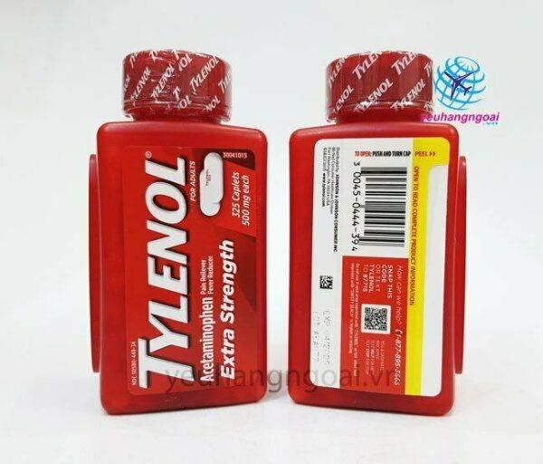 Hình Thật Mặt Trước Sau Tylenol Extra Strength 500mg 325 Viên