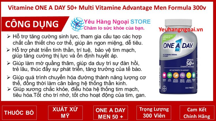 Vitamine One A Day 50+ Multi Vitamine Advantage Men Formula 300v