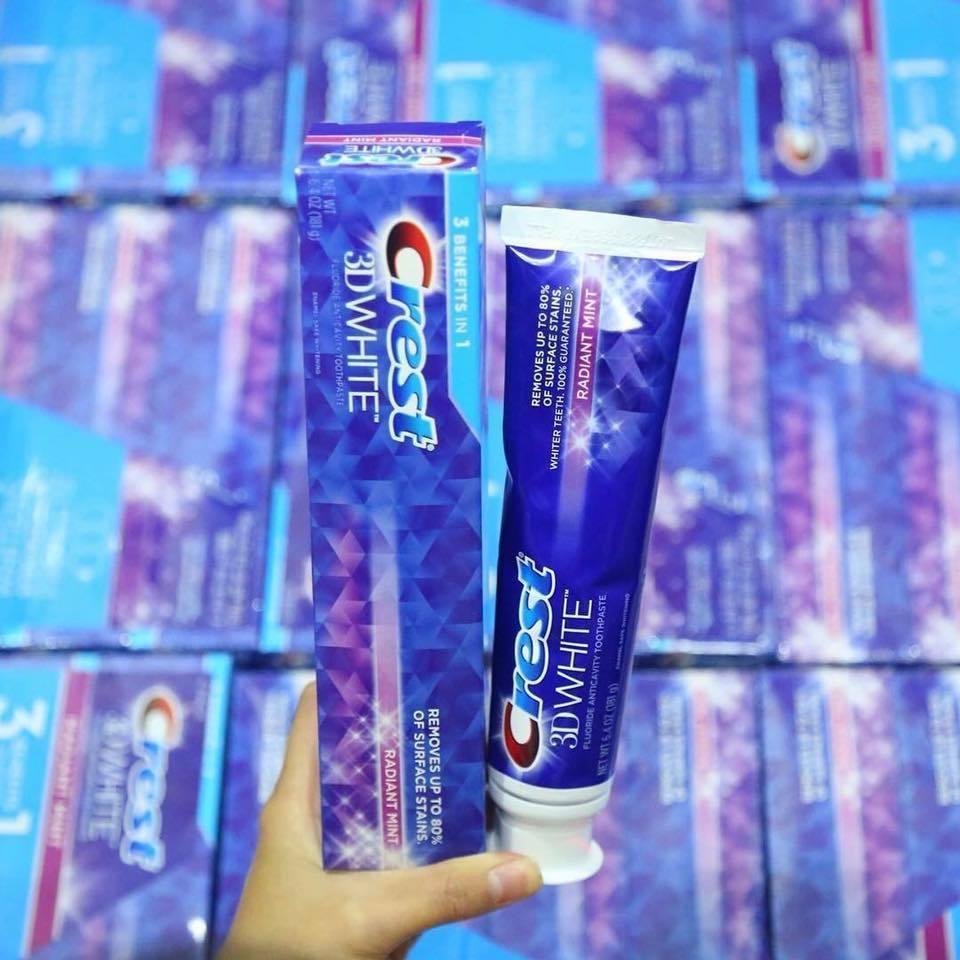 Kết quả hình ảnh cho kem đánh răng crest 3d white radiant mint