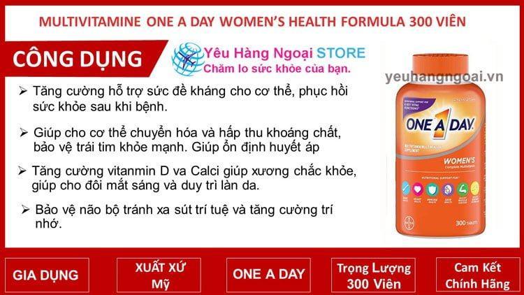 Multivitamine One A Day Women's Health Formula 300 ViÊn