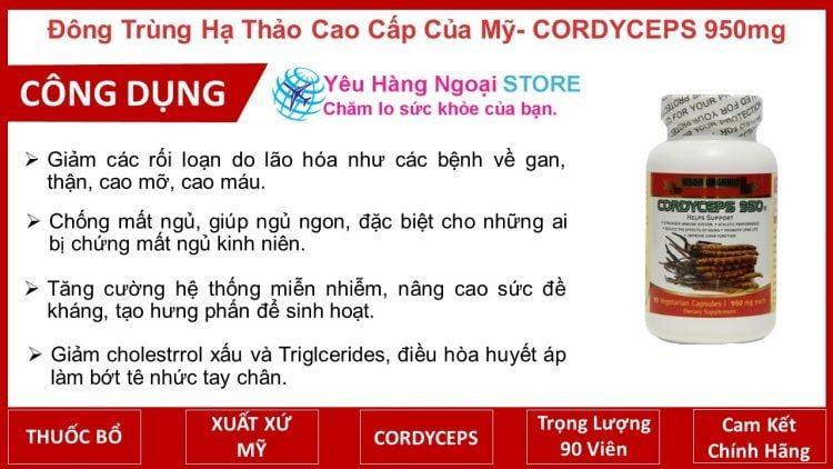 Đông Trùng Hạ Thảo Cao Cấp Của Mỹ Cordyceps 950mg