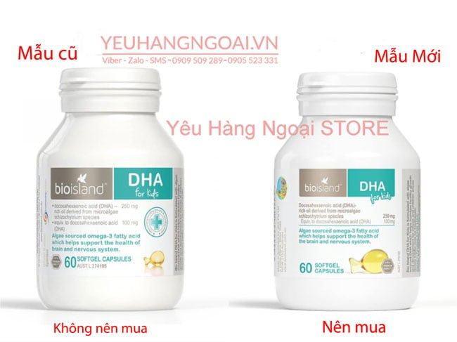 Mẫu Cũ Và Mẫu Mới Viên Uống Bổ Sung Dha Cho Trẻ