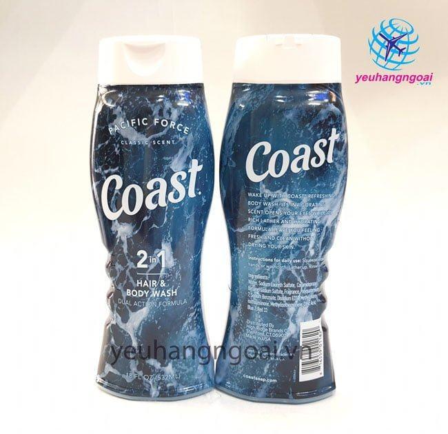 Hình Thaatjk Mặt Trước Sau Sữa Tắm Gội Coast 532ml