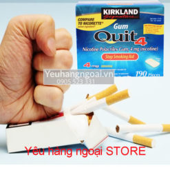 Kirkland Gum Quit2™ 4mg Kẹo cai thuốc lá 190 viên của Mỹc