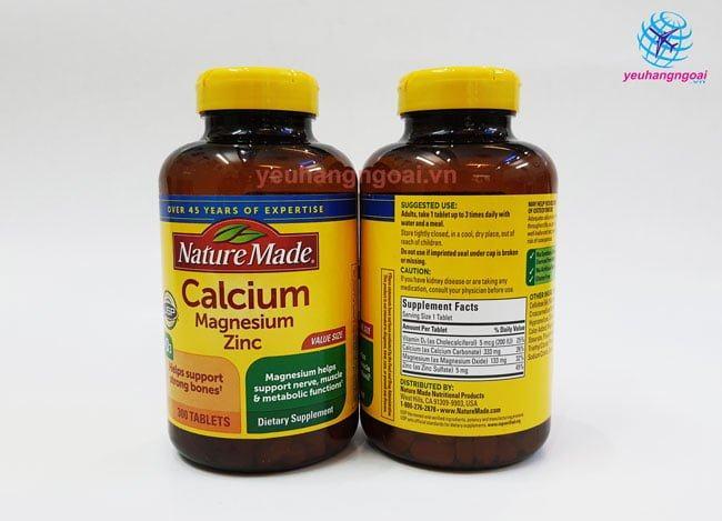 Mặt Trước Sau Calcium Magnesium Zinc With Vitamin D 300 Viên Của Mỹjpg