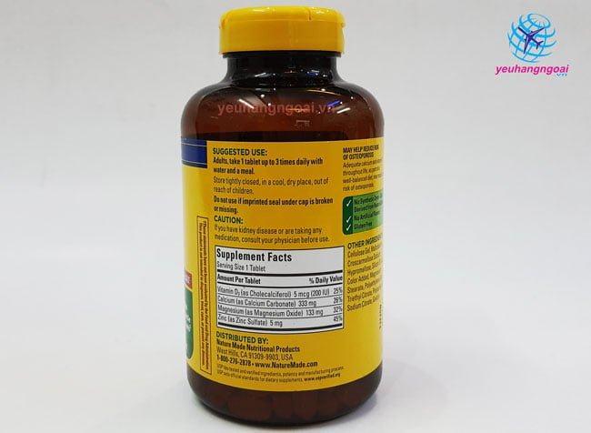 Thành Phần Calcium Magnesium Zinc With Vitamin D 300 Viên Của Mỹ