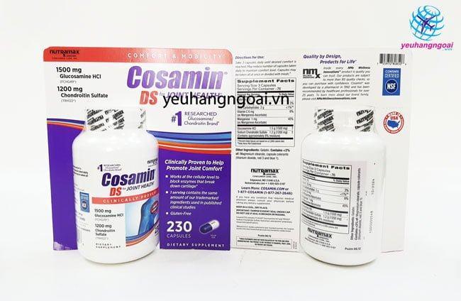 Hình Thật Mặt Trước Và Sau Cosamin Ds 230 Viên