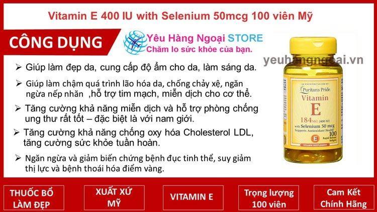 Vitamin E 400 Iu With Selenium 50mcg Puritan's Pride