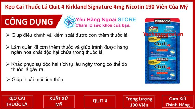 Kẹo Cai Thuốc Lá Quit 4 Kirkland Signature 4mg Nicotin 190 Viên Của Mỹ