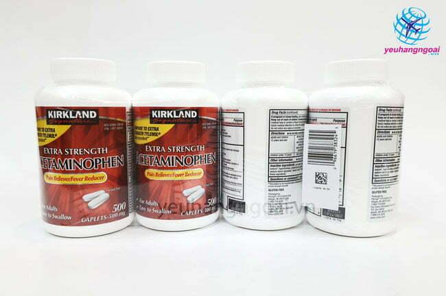 Hình Thật Mặt Trước Sau Thuốc Giảm đau Kirkland Extra Strength Acetaminophen 500mg