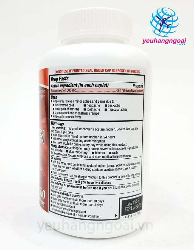 Hình Thật Thành Phần Extra Strength Acetaminophen 500mg