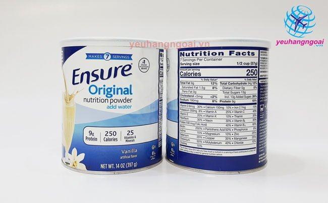 Hình Mặt Trước Sau Sữa Bột Ensure 400g