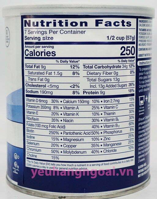 Hình Thật Thành Phần Sữa Bột Ensure Của Mỹ