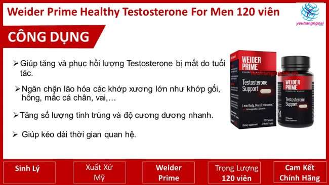 CÔng DỤng Weider Prime Healthy Testosterone For Men