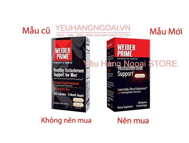 Mẫu Cũ Và Mẫu Mới Viên Uống Weider Prime Healthy Testosterone For Men 120 Viên.