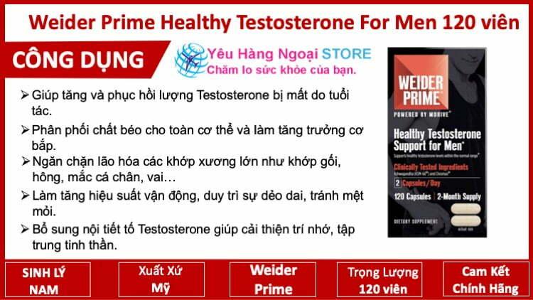 Weider Prime Healthy Testosterone For Men 120 viên từ Mỹ viên uống tăng Hóc Môn cho nam
