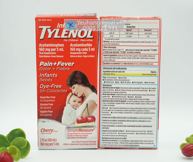 Mat Truoc Va Sau Siro Tylenol Infants' Cherry