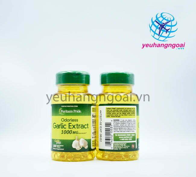Hình Mặt Trước Sau Odorless Garlic Extract 1.000mg 100 Viên