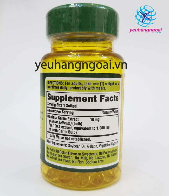 Hình Thật Thành Phần Odorless Garlic Extract 1.000mg 100 Viên