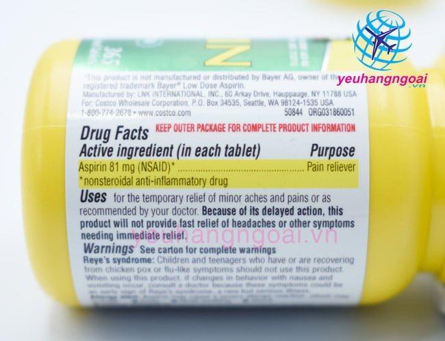 Viên Uống Aspirin 81mg Low Dose Kirklan6