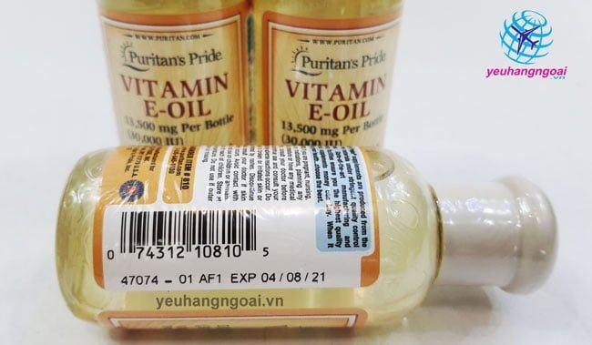 Hạn Sử Dụng Và Mã Vạch Vitamin E Oil Puritan's Pride Tinh Khiết 30.000iu Dạng Nước