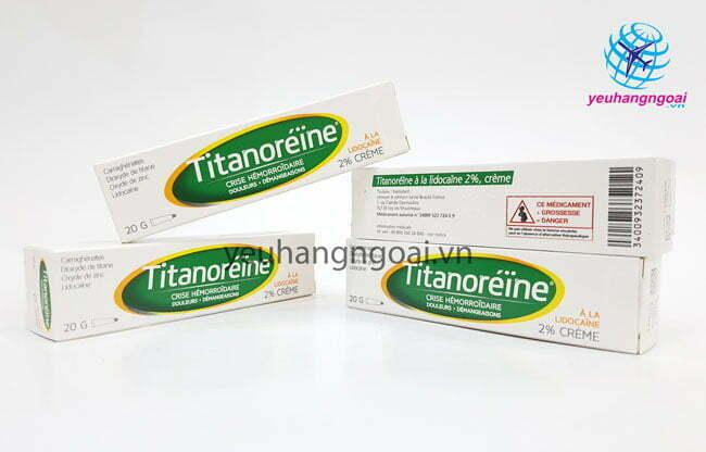 Hình Thật Mặt Trước Kem Trị Trĩ Pháp Titanoreine 20g