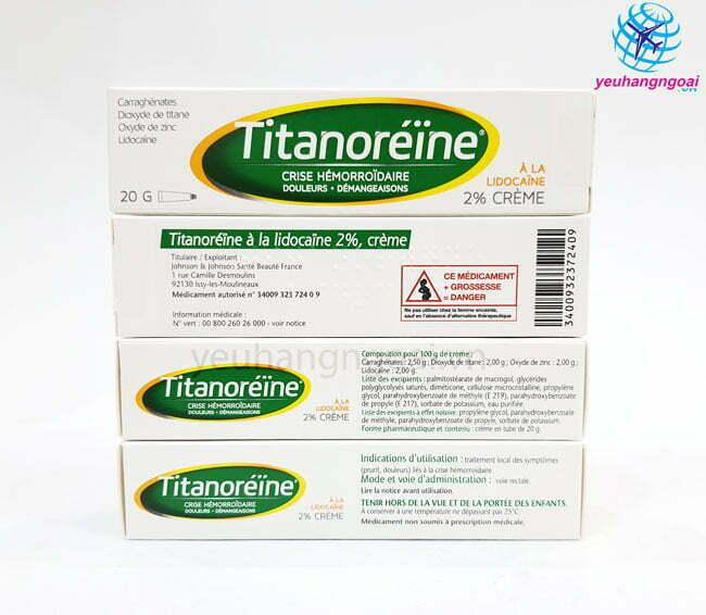 Hình Thật Mặt Trươc Sau Kem Trị Trĩ Pháp Titanoreine 20g.