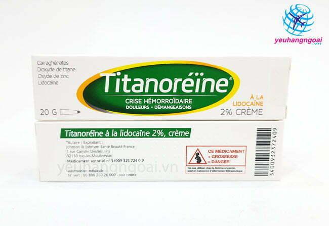 Hình Thật Mặt Trước Sau Kem Trị Trĩ Pháp Titanoreine 20g