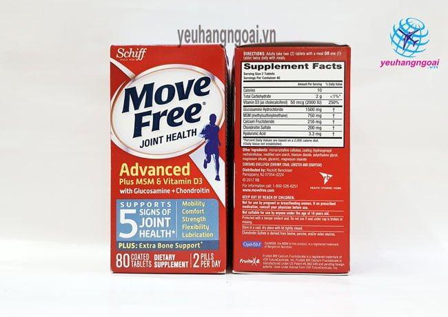Mặt Trước Sau Move Free 80v Glucosamine Chondroitin Msm + D3
