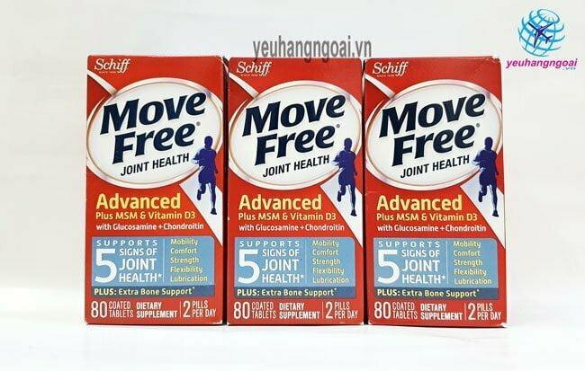 Thuốc Bổ Khớp Cao Cấp Move Free 80v Glucosamine Chondroitin Msm + D3 Mẫu Mới Giúp Chắc Khỏe Xương