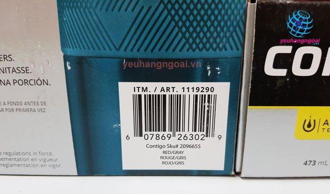Mã Vạch Bình Giữ Nhiệt Nóng Lạnh Contigo Autoseal 473ml Mỹ.
