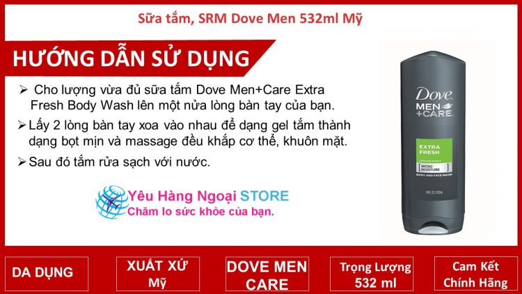Sữa tắm, SRM Dove Men 532ml Mỹ.