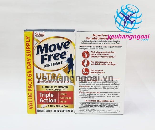 Hình Mặt Trước Sau Schiff Move Free Ultra (mỹ) 64 Viên
