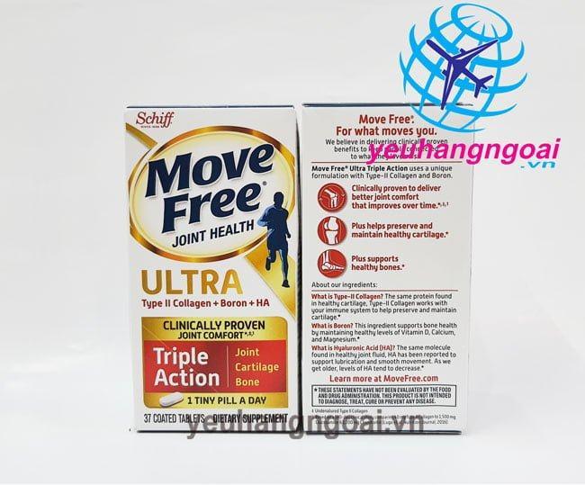 Hình Mặt Trước Sau Viên Uống Giảm Các Cơn đau Khớp – Siêu Mạnh Schiff Move Free Ultra (mỹ)