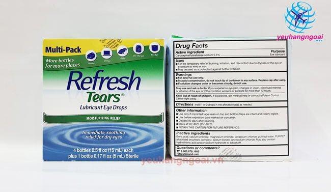 Hình Thật Mặt Trước Và Sau Nhỏ Mắt Refresh Tears Lubricant Eye Drops