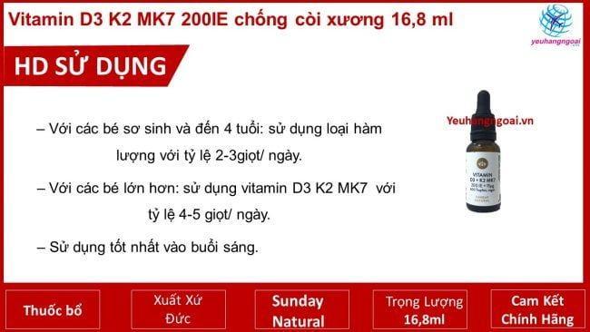 Hd Sử Dụng Vitamin D3 K7