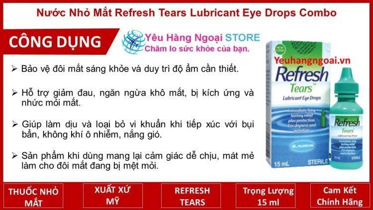 Nước Nhỏ Mắt Refresh Tears Lubricant Eye Drops Combo