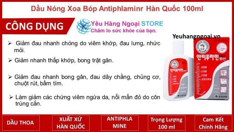 Dầu Nóng Xoa Bóp Antiphlaminr Hàn Quốc 100ml