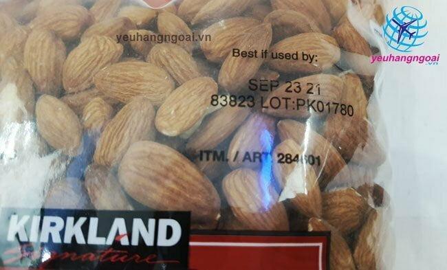 Hạn Sử Dụng Hạt Hạnh Nhân Không Muối Kirkland Signature Almonds
