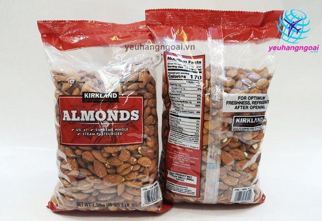 Mặt Trước Sau Hạt Hạnh Nhân Không Muối Kirkland Signature Almonds