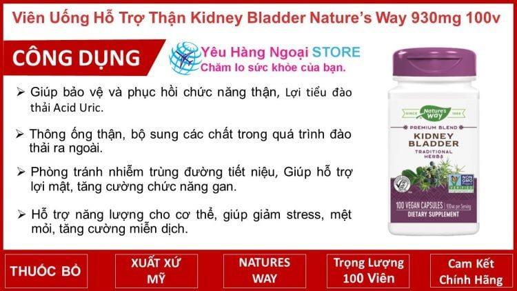 Viên Uống Hỗ Trợ Thận Kidney Bladder Nature's Way 930mg 100v