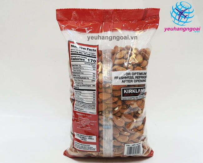 Thành Phần Hạt Hạnh Nhân Không Muối Kirkland Signature Almonds