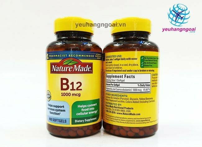 Mặt Trước Sau Thành Phần ViÊn UỐng BỔ MÁu BỔ Sung Vitamin B12 Nature Made 1000mcg