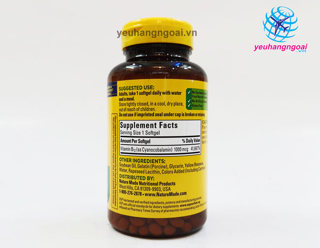 Thành Phần ViÊn UỐng BỔ MÁu BỔ Sung Vitamin B12 Nature Made 1000mcg