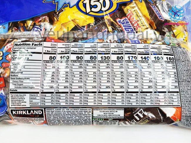 Thành Phần Kẹo Socola Kirkland Tổng Hợp 150 Pieces 2.55kg
