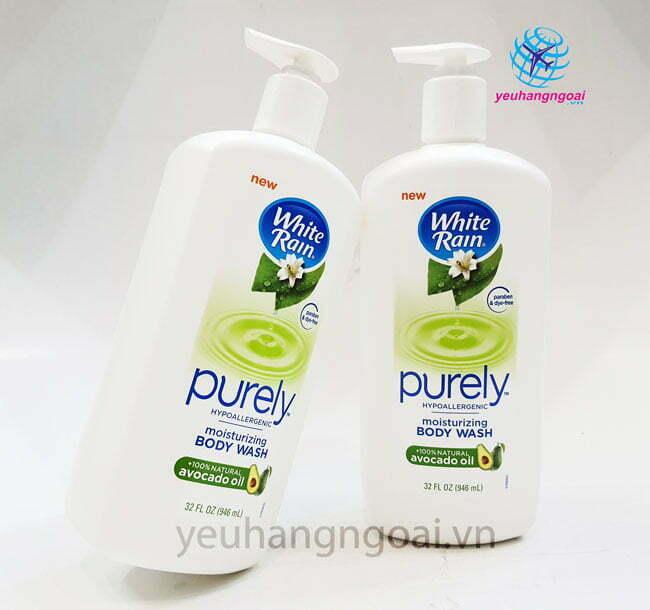 Hình Thật Mặt Trước Sữa Tắm White Rain Purely Avocado Oil 946ml Hàng Mỹ